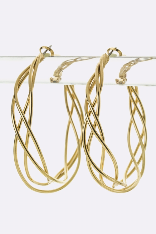 Wired Weaved Fashion Hoops - M - orangeshine.com
