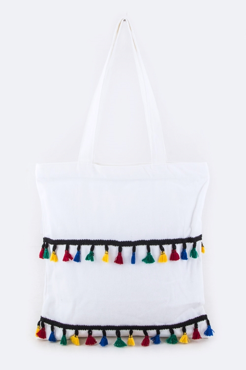 Mix Color Tassels Fashion Tote - orangeshine.com
