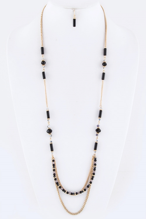 Layered Beads Station Necklace - orangeshine.com