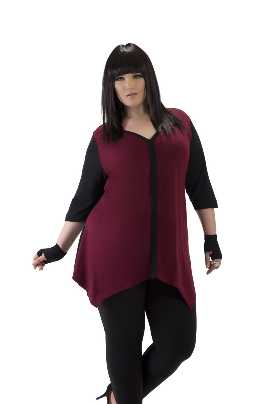 Burgundy Sharkbite Tunic - orangeshine.com