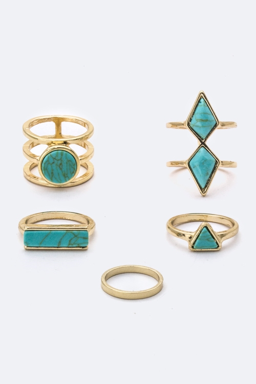 Mix Stoned Rings Set - orangeshine.com