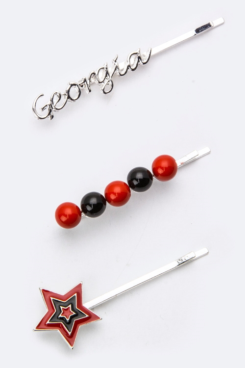 Georgia Team Color Bobby Pins  - orangeshine.com