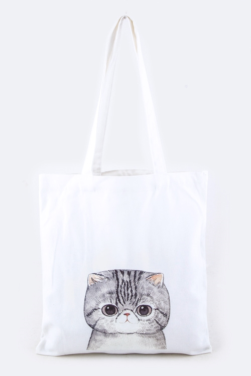 Cat Print Fashion Tote - orangeshine.com