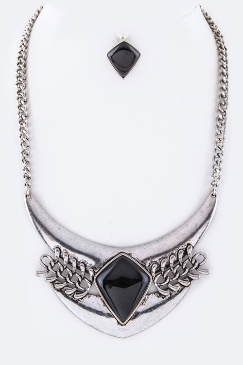 Stone Chain Collar Necklace - orangeshine.com