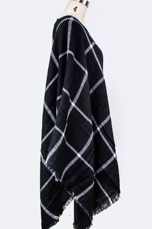 Checker Print Poncho - orangeshine.com