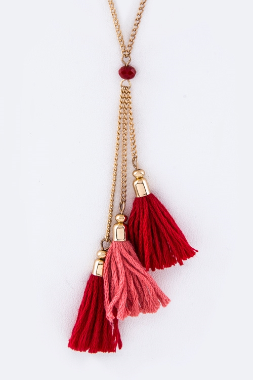 Triple Tassels Necklace Set - orangeshine.com