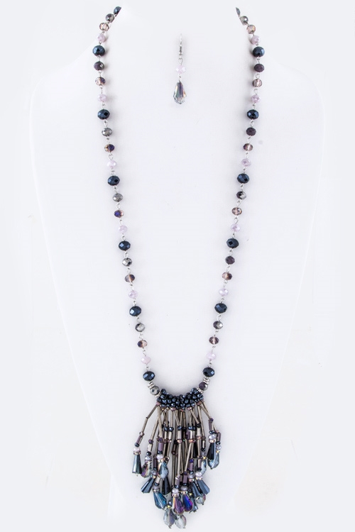 Fringe Mix Beads Necklace Set - orangeshine.com