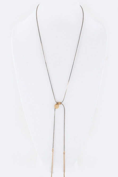 Metal Bar Drop Slider Necklace - orangeshine.com