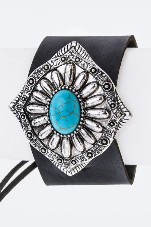 Turquoise Concho Leather Cuff - orangeshine.com