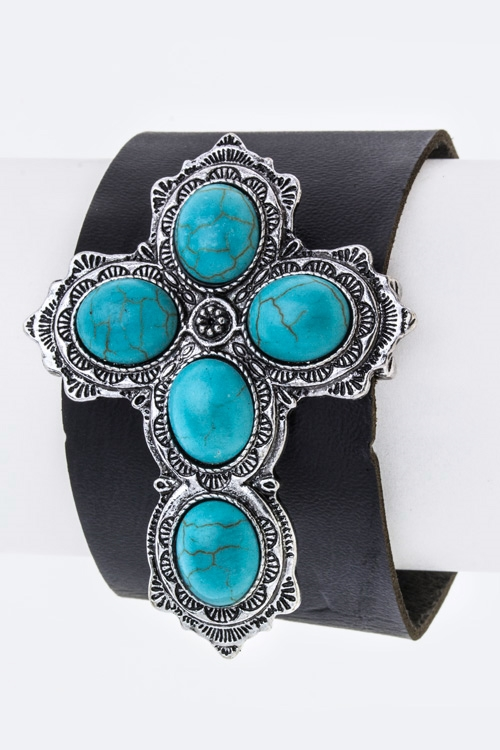 Turquoise Cross Leather Cuff - orangeshine.com