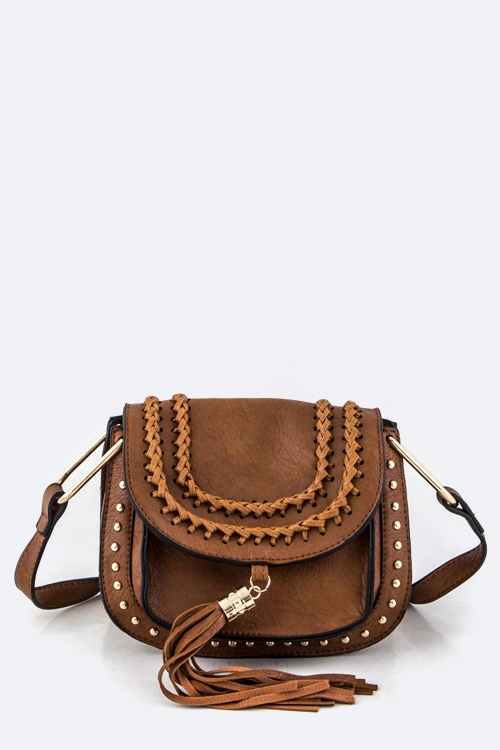 Tassel  Studs Crossbody Bag - orangeshine.com