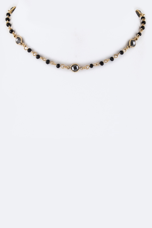 Crystal  Bead Station Choker  - orangeshine.com