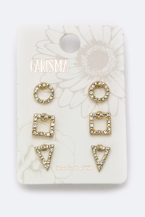 Mix Shape Crystal Studs Set - orangeshine.com