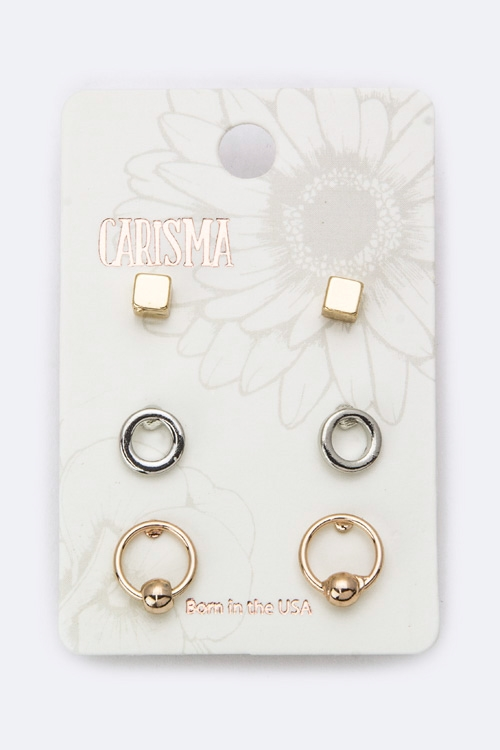 Mix Hoop  Cube Studs Set - orangeshine.com