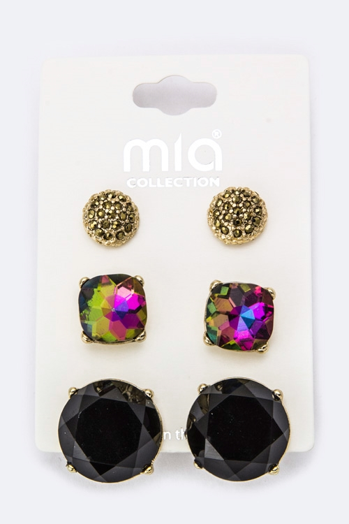 Mix Crystal Studs Set - orangeshine.com