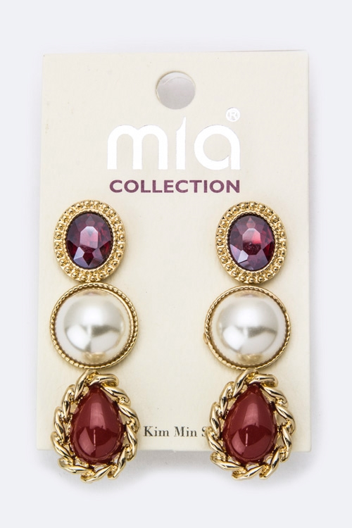 Mix Pearl  Crystal Studs Set - orangeshine.com