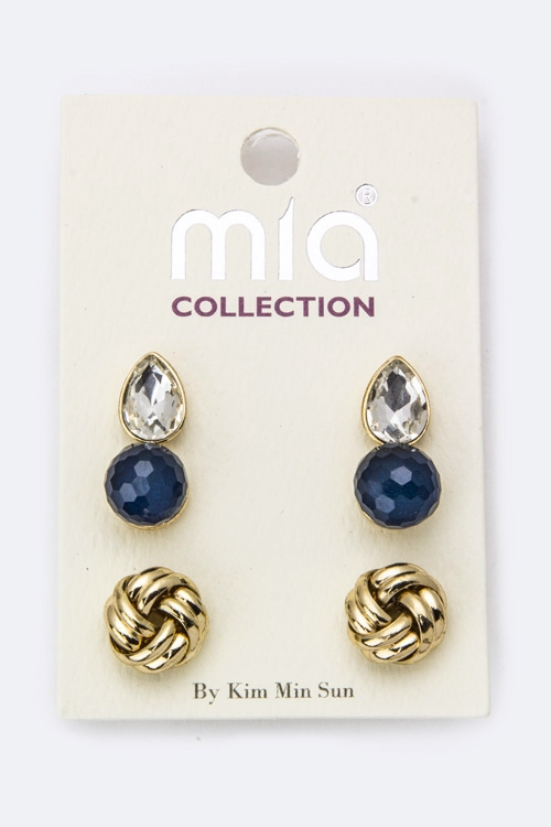 Love Knot  Teardrop Studs Set - orangeshine.com