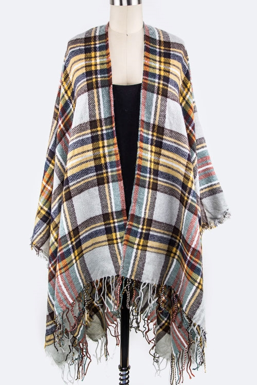 Mad For Plaid Shaped Shawl - orangeshine.com