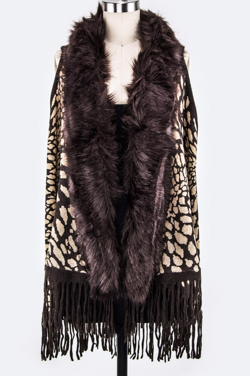 Faux Fur Animal Print Vest - orangeshine.com