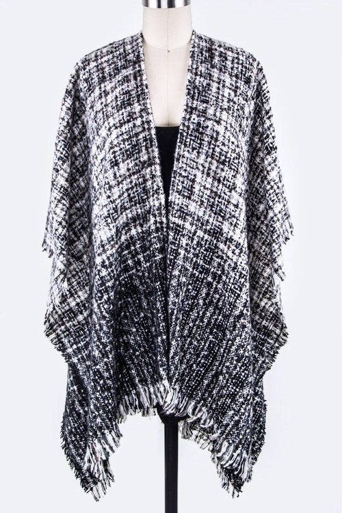 Ombre Gingham Shaped Shawl - orangeshine.com