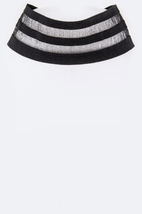 Stripe Lace Choker Necklace - orangeshine.com