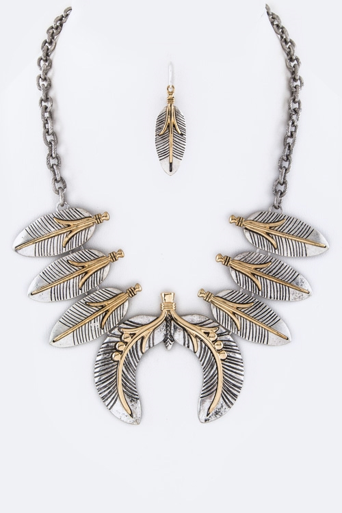 2 Tone Metal Feathers Necklace - orangeshine.com