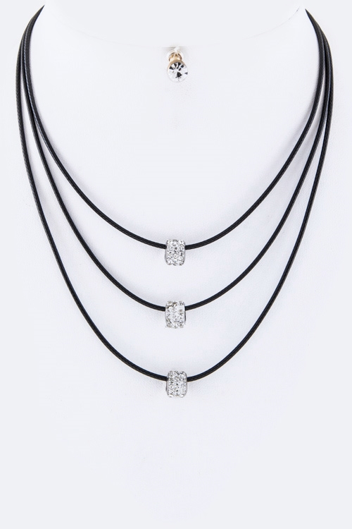Crystal Hoops Layer Necklace  - orangeshine.com