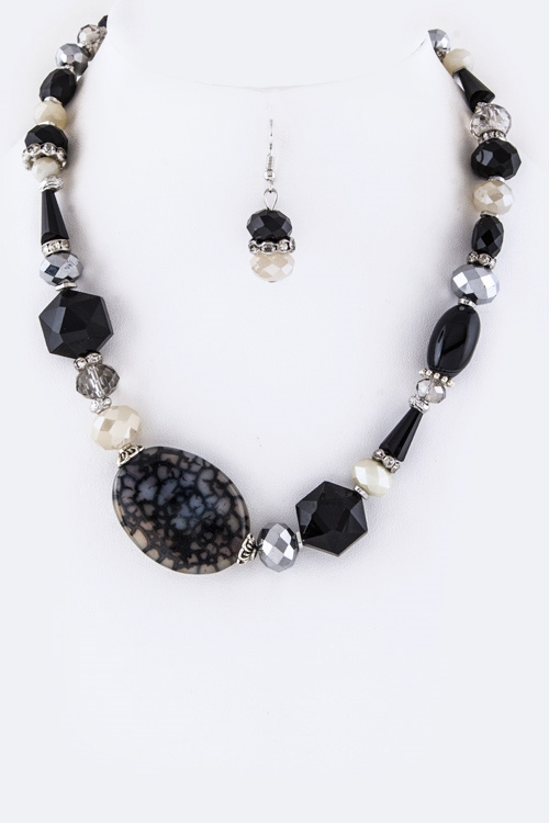 Semi Precious Stone Necklace - orangeshine.com