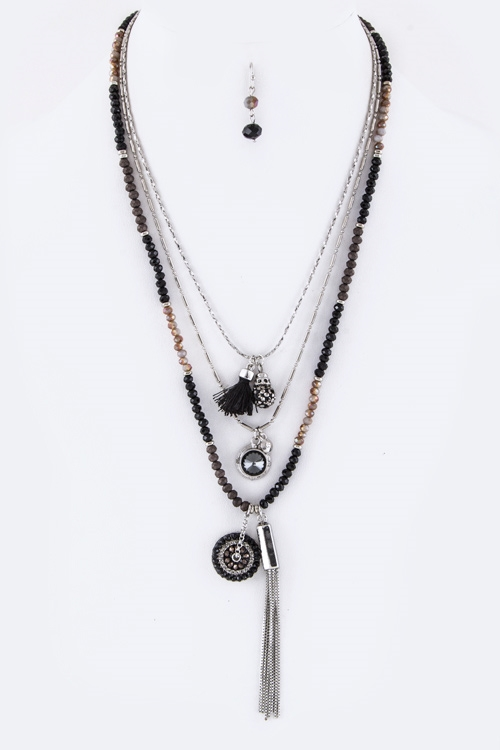Mix Crystal Tassel Necklace - orangeshine.com