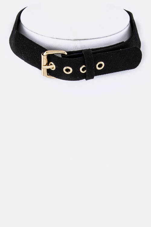 Velvet Buckled Choker Necklace - orangeshine.com