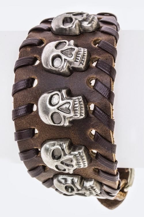 Skull Studs Buckled Leather BR - orangeshine.com
