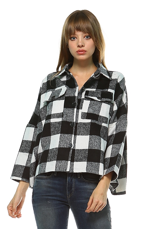 PLAID CROP JACKET - orangeshine.com