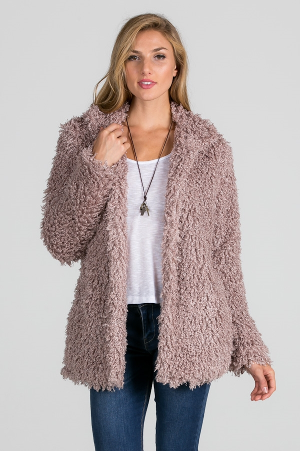 PURPLE FUZZY FAUX FUR JACKET - orangeshine.com