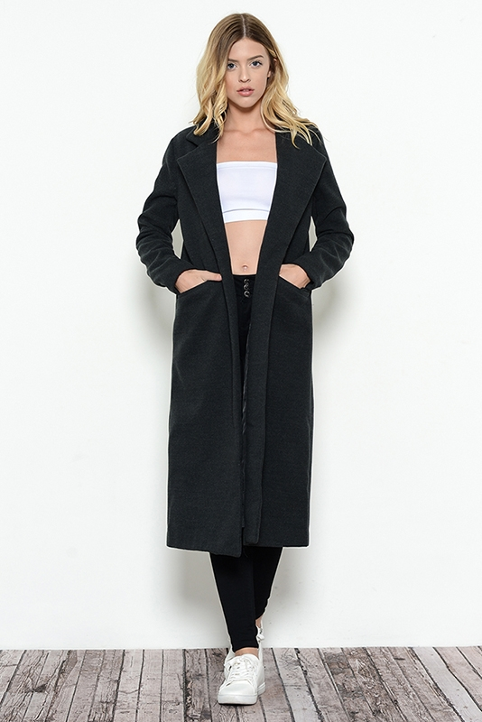 Wool Blend Long Coat - orangeshine.com