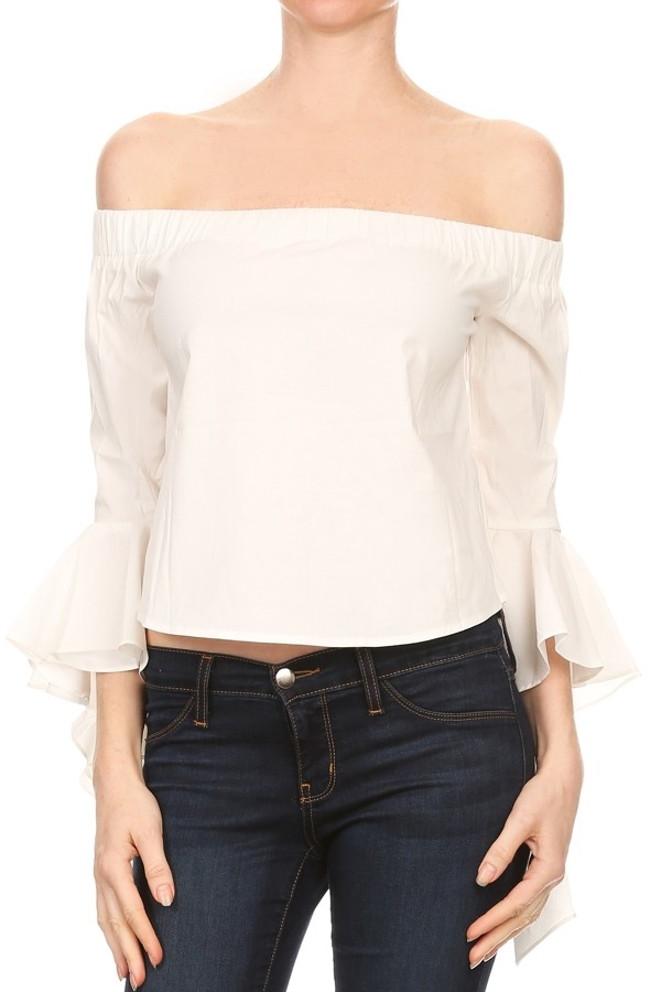 Solid off shoulder top - orangeshine.com