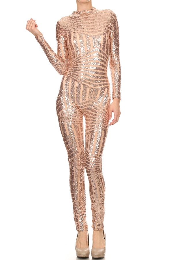 Textured long sleeve jumpsuit - orangeshine.com
