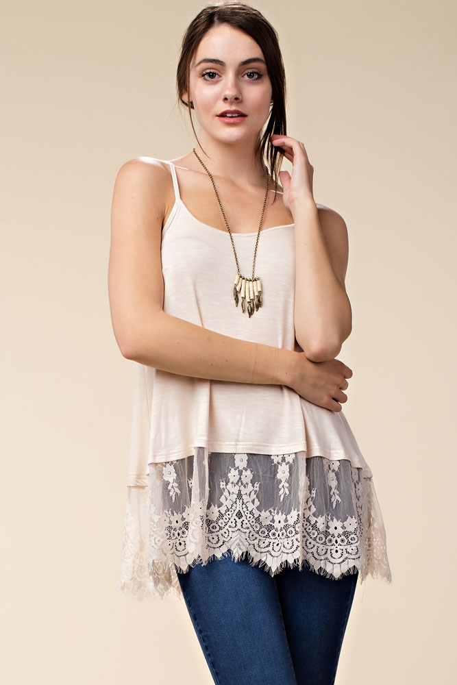 SLEEVELESS LACE TRIM TANK TOP - orangeshine.com