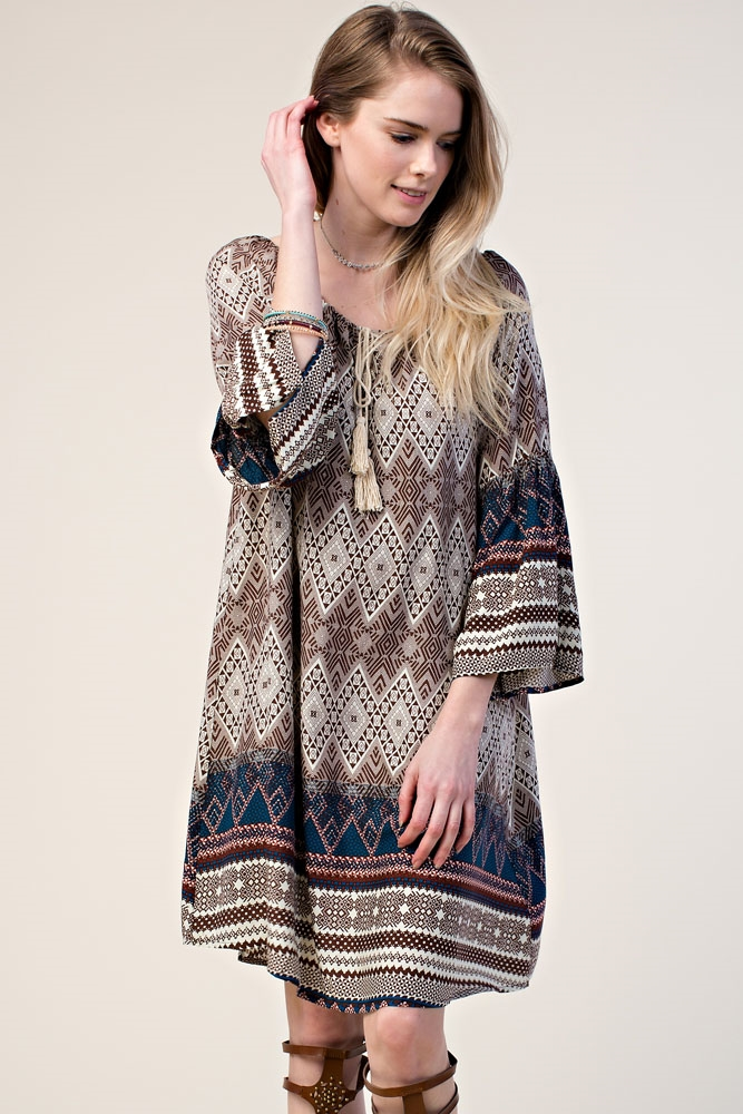 GEOMETRIC PRINT SHIFT DRESS - orangeshine.com