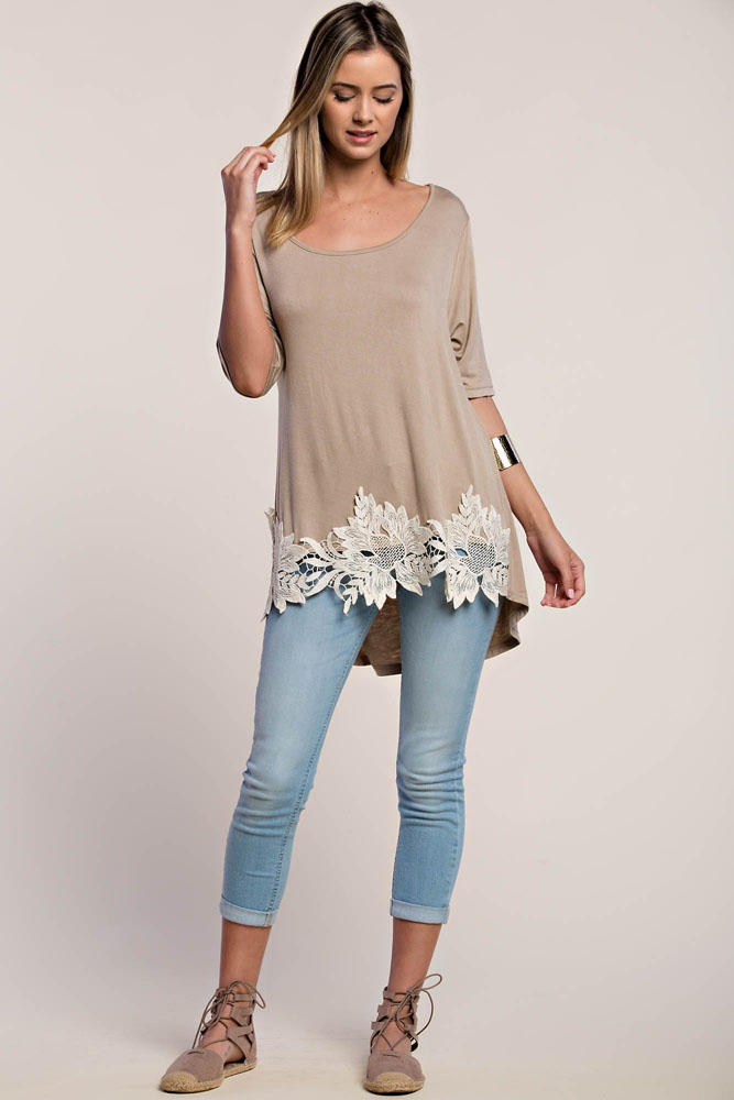 LACE APPLIQUE TEE - orangeshine.com