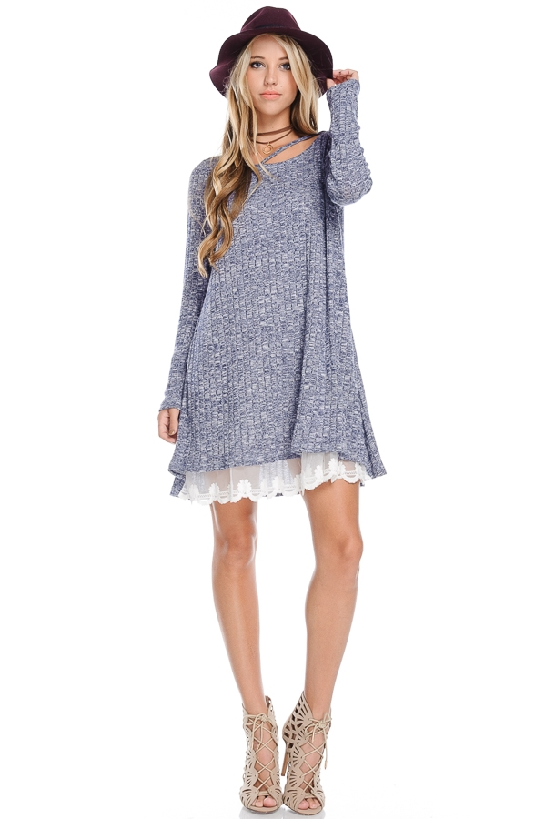Long Sleeve Knit Dress With La - orangeshine.com