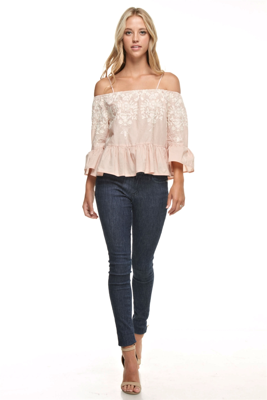 Embroidered Off Shoulder Top - orangeshine.com