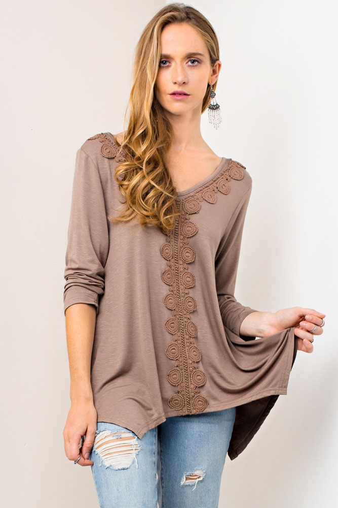 SOLID TOP W/ LACE TRIM - orangeshine.com