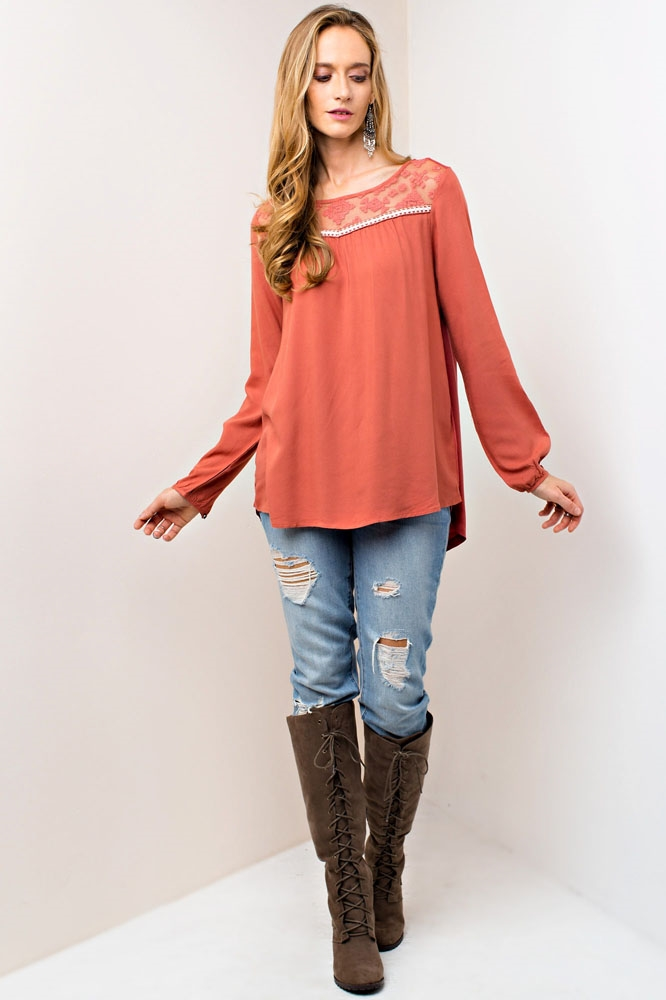 MIX MATCH TOP W/ EMBROIDERY - orangeshine.com
