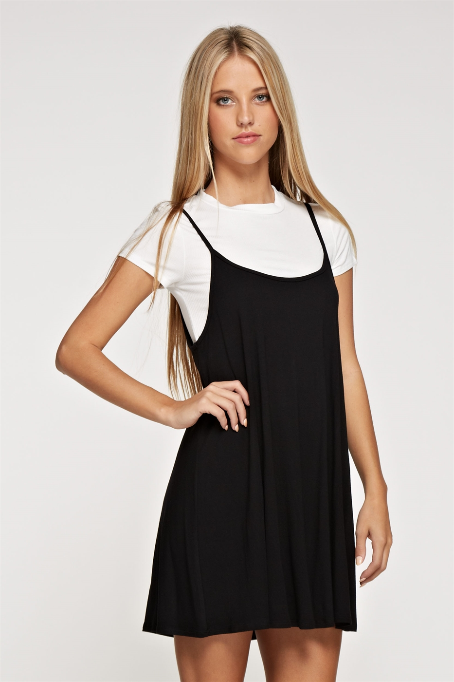 Short sleeve camiLayered Dress - orangeshine.com