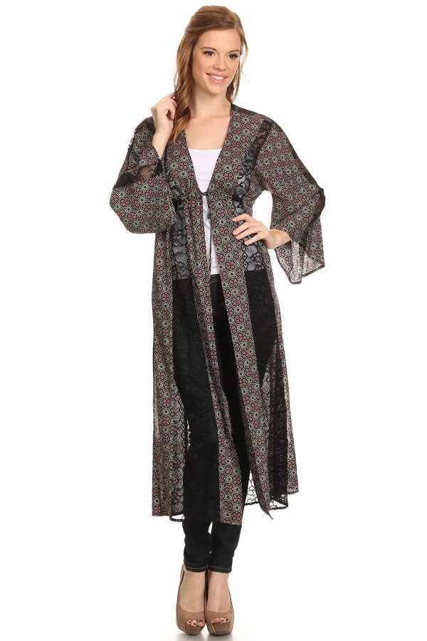 Long Maxi Cardigan with Lace - orangeshine.com