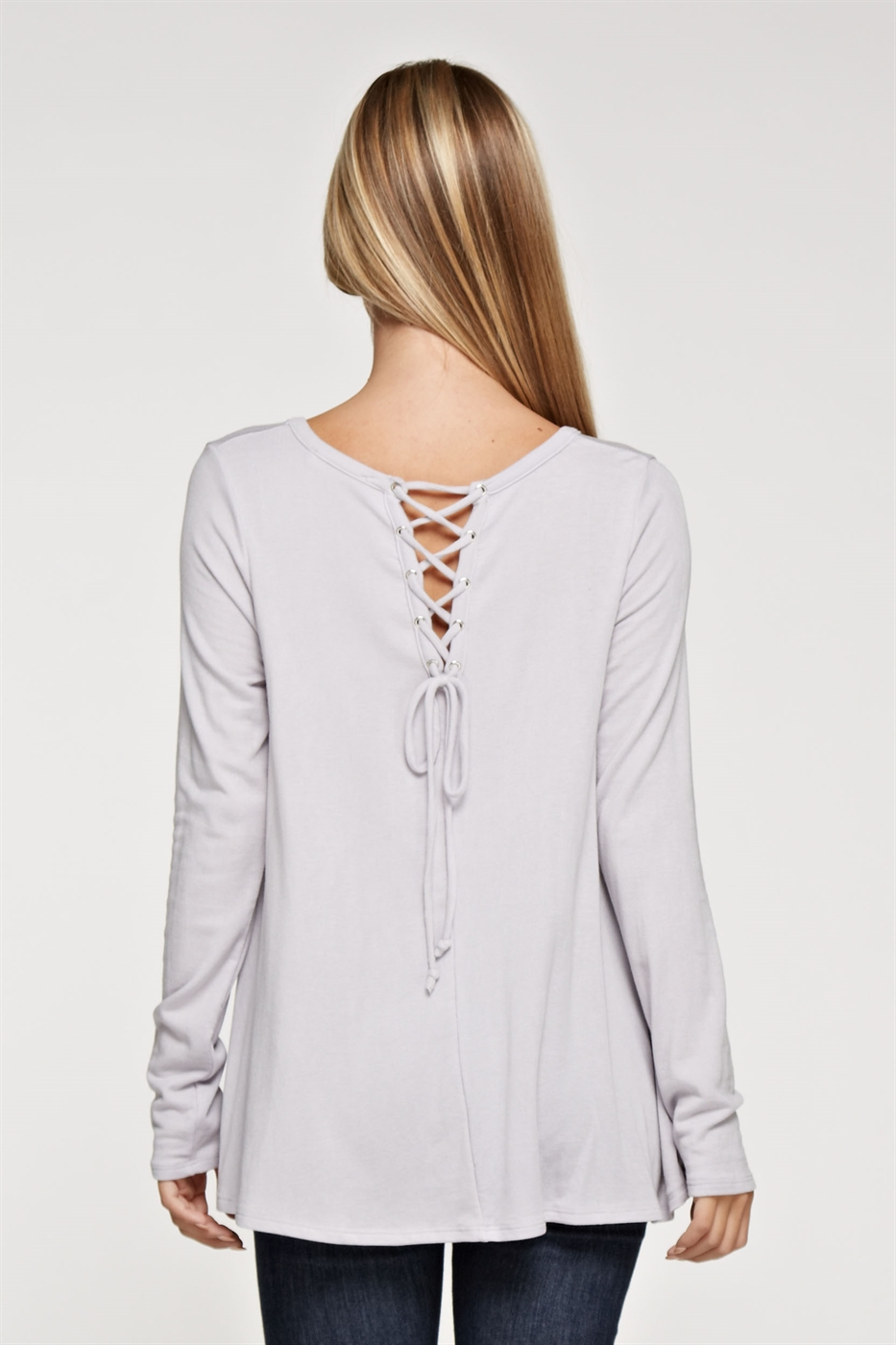 Lace up back long sleeve - orangeshine.com