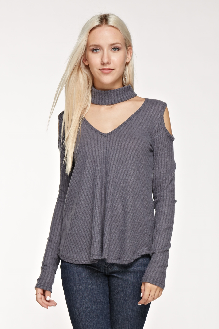 Choker neck cold shoulder top - orangeshine.com