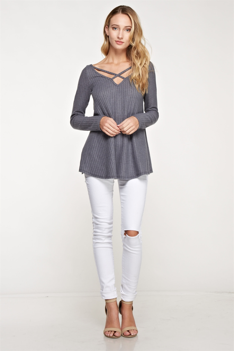 Criss cross brush knit top - orangeshine.com