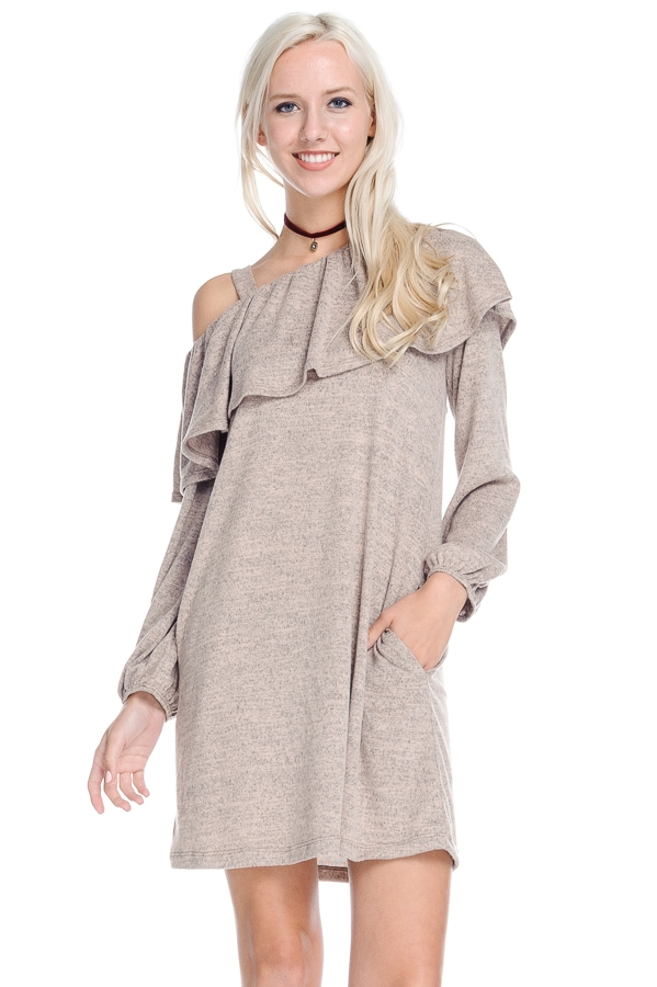 One Shoulder Long Sleeve Dress - orangeshine.com