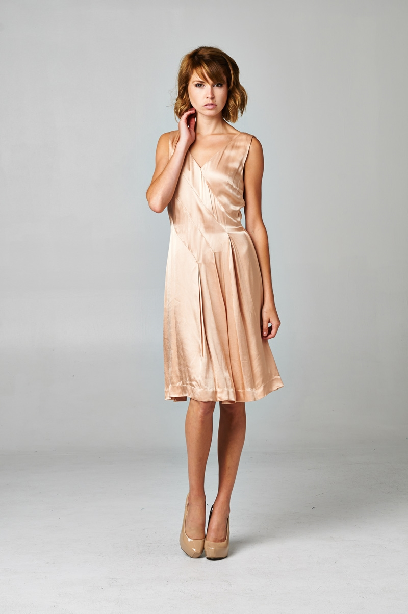 DRAPPY CHAMPAGNE DRESS - orangeshine.com